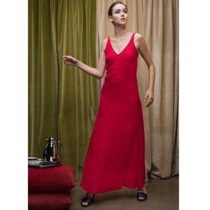 STAUD ruby red Zoe v neck sleeveless dress maxi
